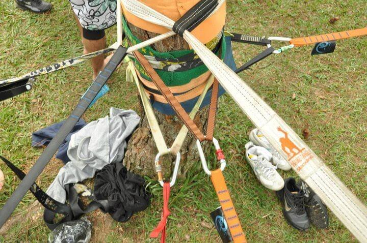 encontro slackline ancoragem galera - Slackline, mais do que um esporte, uma brincadeira